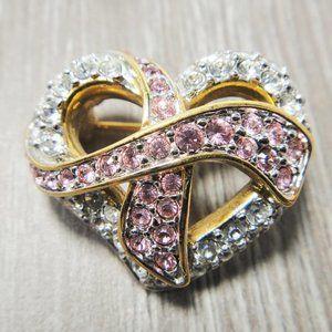 Swan Signed Swarovski Crystal Heart Ribbon Pin